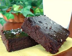 Black Bean Brownies | 1 (15 1/2 ounce) can black beans (rinsed and drained) 3 eggs 3 tablespoons oil 4 tablespoons cocoa powder 1 pinch salt 1 teaspoon vanilla 3⁄4 cup sugar