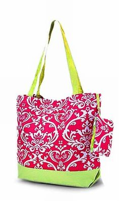 Damask Hot Pink and Lime Green Tote