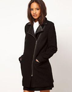 Enlarge ASOS Wool Biker Coat With Leather Collar