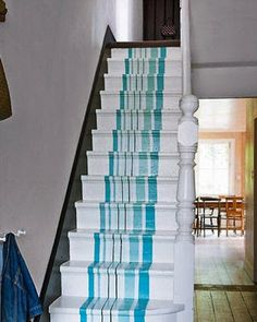 Painted stairs runner - - Don't like these colors, but love this idea!