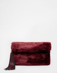 ASOS COLLECTION ASOS Faux Fur Roll Top Clutch Bag With Chunky Tassel  - Click link for product details :)