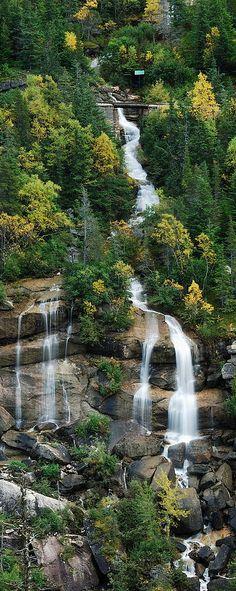A cascading  waterfall  near beautiful Skagway  ,Alaska