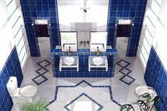 Full size of blue tile bathroom remodel glass ideas retro decorating mosaic tiles design old home Blue White Bathrooms, White Bathroom Tiles, Modern Bathroom Decor, Bathroom Floor Tiles, Bathroom Ideas, Interior Decorating Tips, Retro Decorating, Decorating Ideas, Mosaic Tile Designs