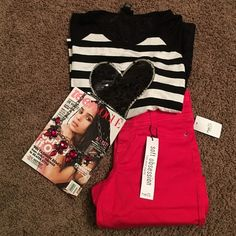 rue 21 outfit rue 21 outfit NWT. Necklace not for sale. Top is M, pants 9/10. Top 96 rayon and 4 spandex, 3/4 length sleeves. Back is lace. Pants are soooo soft, 46 rayon and 2 spandex, 29 inches long. 3 button and zip closure. The heart looks like some sequence might be missing, bought this way. See pic. Super cute outfit.  Rue 21 Pants Ankle & Cropped