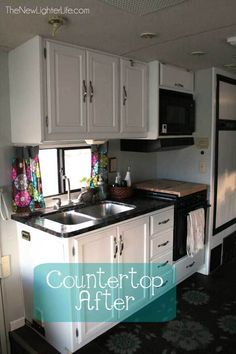Paint RV Cabinets without sanding or priming - Nuvo Cabinet Paint Painting Countertops, Painting Cabinets, Kitchen Countertops, Granite Countertop, Countertop Options, Countertop Replacement, Light Oak Cabinets, Rv Cabinets, White Cabinets