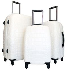 3 Pc Luggage Set Hardside Rolling 4wheel Spinner Polycarb Case Travel Croc White -- This is an Amazon Affiliate link. You can get more details by clicking on the image.