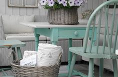 Washed wicker, white, green. All the right colors.