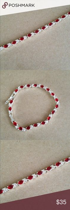 """7"""" Tennis Bracelet in Ruby stones -Gorgeous 7"""" Tennis Bracelet in Ruby and Silver colors  Has 1 1/2"""" extender - Gorgeous  NEW *July birthstone .. Or a nice Valentine's Day gift for your loved one .. Or a gift just because Jewelry Bracelets"""