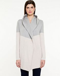 Cotton Blend Hooded Sweater - Chic and comfortable are both possible in this trendy colour-block inspired hooded throw over.