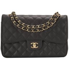 Preowned Chanel Black Quilted Caviar Jumbo Classic Double Flap Gold... ($6,250) ❤ liked on Polyvore featuring bags, handbags, shoulder bags, black, leather purse, leather handbags, quilted shoulder bag, chanel shoulder bag and black quilted purse