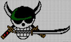 One Piece Zoro skull perler bead pattern