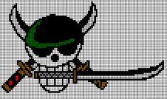 One Piece Zoro skull perler bead pattern