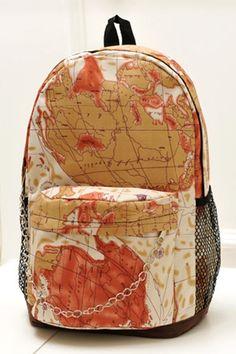 Vintage Map Pattern Backpack OASAP.com