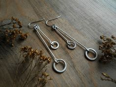 stem and hoop earrings sterling silver hand by Q2jewelrycollection