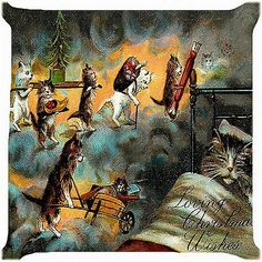 """Retro Vintage Cat Christmas Loving Wishes Cushion Cover Throw Pillow Case 18"""" 