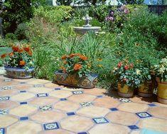Amazing Idea using Outdoor Patio Floor Tiles: Outdoor Patio Floor Tiling Great Mix Of Hand Painted With Terra Cotta Tiles ~ jsdpn.com Outdoor Designs Inspiration