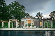 Great pool house by Janice Parker Landscape Design.
