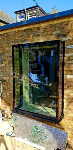 Frameless Glass Window Seats and Vertical Frameless Glass Windows · Folding Sliding Doors Window Seat Kitchen, Window Seats, Kitchen Windows, Sliding Door Window Treatments, Sliding Glass Door, Sliding Doors, Front Doors, Entry Doors, Glass Extension