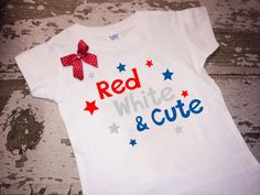 Red, White, and Cute 4th of July Shirt with Bow