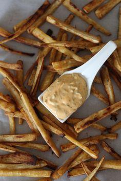 PaleOMG – Paleo Recipes – Paprika Parsnip Fries with Sriracha Dipping Sauce
