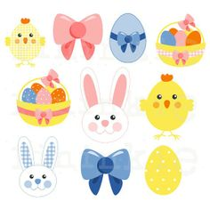 25 Easter Clip Art - INSTANT DOWNLOAD - Easter Bunny Clip Art - Easter Egg Clip Art - png jpg - Commercial Use  #2014 #Easter #Day #clip art #decor #craft #ideas www.loveitsomuch.com