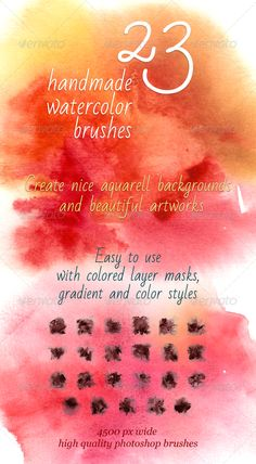 23 Handmade Watercolor Brushes aquarelle, art, artistic, brush, cold, colorful, handmade, paper texture, warm, watercolor, 23 Handmade Watercolor Brushes