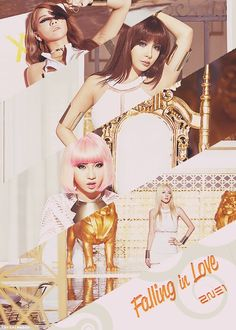 "2NE1 ""Falling in Love"" ~ CL, Park Bom, Minzy, and Dara (starting from top to bottom)"