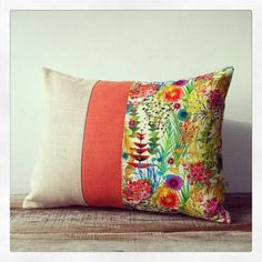 bright floral decorative pillow tresco liberty print watercolor flowers summer home decor by - Decor Pillows