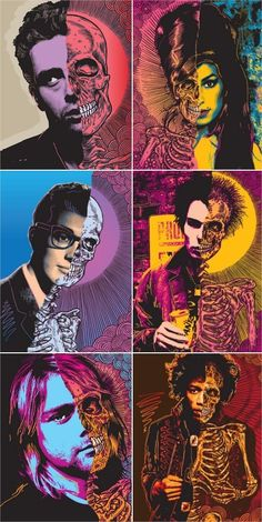 Could be a good drawing lesson! Celebrities and skeletons Collage art, Pop art Digital Art Illustration, Jimi Hendricks, Ben Brown, Art Beat, Arte Sketchbook, Buddy Holly, Chef D Oeuvre, Arte Pop, Gcse Art