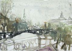Gouache, Urban Sketching, Landscape Paintings, Landscapes, Museum, Watercolor, Paris, Drawings, Image