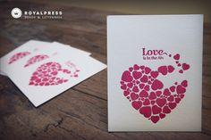 letterpress card- hearts