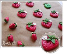 Little Clay Strawberry Buttons