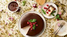 Nepečená tvarohová torta s plnenými malinami