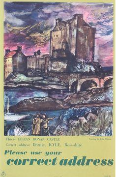 John Minton This is Eilean Donan Castle, original GPO poster PRD 881 1957 - 37 x 25 cm Magazine Illustration, Graphic Illustration, John Minton, Castle Painting, British Books, British Traditions, Eilean Donan, Book And Magazine, Linocut Prints