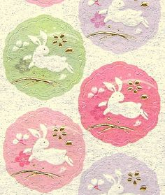 Beautiful Japanese Stickers Rabbits Cherry by FromJapanWithLove, $6.50