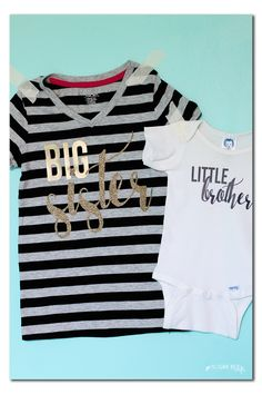 how to make your own diy new baby sibling shirt (it's a great gift idea!! makes for cute family photos) - heat transfer vinyl tshirt project - - Sugar Bee Crafts