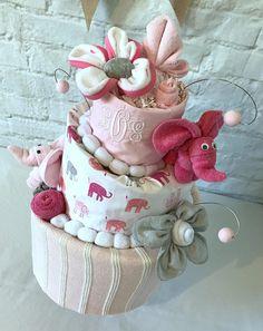 Elephant diaper cake Baby shower centerpieces Baby shower decor Pink and gray elephant baby shower Monogrammed baby gift Pottery barn harper