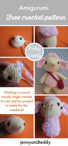 free crochet amigurumi pattern  pinky lamb  a fun project for your weekend with easy to follow pattern and photo tutorial.