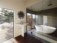 Bathroom9 Rustic Irregular Shaped House With Spending View Over The Surroundings in Japan