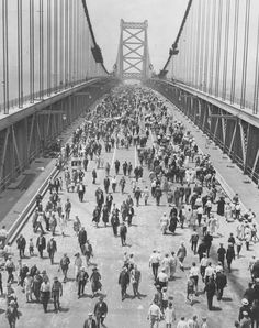 Opening day in July of 1926 of the Delaware River Bridge, now known as the Benjamin Franklin Bridge.  Philadelphia