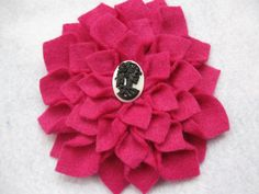 Big pink dahlia with black and white skull cameo! $8