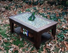 "Coffee Table with Shelf, Tile Mosaic, Reclaimed Wood, Rustic Contemporary, ""Bamboo Beach"", Dark Brown Wax Finish - Handmade. $625.00, via Etsy."