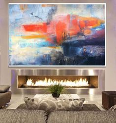 blue Abstract Painting Orange Blue Painting Large by BuyWallArt