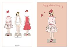 Printable paper doll Valentine's Day cards - make a donation of your choice. It goes to charity.