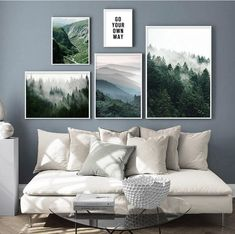 Landscape prints featuring Scandinavian green hills landscape in the morning. Create a beautiful wall gallery with this nice selection of greenery. The Scandinavian Morning Hills Scenery Canvas Prints are the perfect eye catchers for your gallery wall. Create your own style gallery with a plethora of styles from our Art Prints and Posters collection. This wall art decor is printed on high quality cotton canvas using UV sprayed ink for a more realistic look. The poster is not framed, but it can b Landscape Walls, Landscape Prints, Mountain Landscape, Forest Landscape, Canvas Poster, Canvas Wall Art, Wall Art Prints, Living Room Canvas Art, Canvas Prints