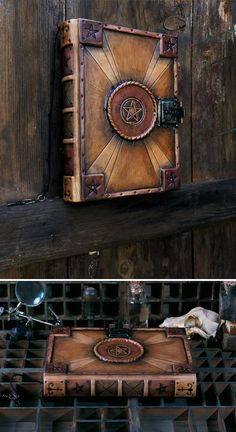 """Leather Journal with Lock and Key, Handpainted - """"The Serpent"""""""