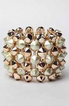 The Elastic Pyramid Spike Bracelet in Gold by *Accessories Boutique