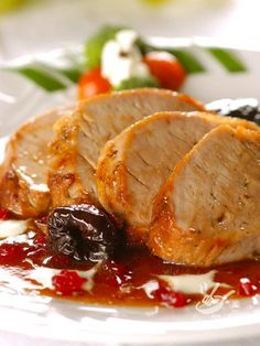 Photo about Grilled pork meat with dry plum and red currant jam. Image of dinner, meat, delicacy - 2106062 Pork Recipes, Cooking Recipes, Healthy Recipes, Chicken Avocado Soup, Great Recipes, Dinner Recipes, Pork Meat, Fish And Meat, Grilled Pork