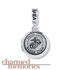 Charmed Memories Marine Corps Locket Sterling Silver Charm