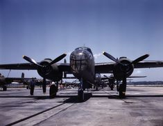 Newly-constructed B-25 Mitchell bombers outside the North American Aviation plant at Kansas City, Kansas, United States, Oct 1942